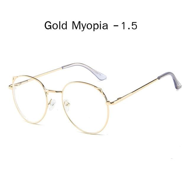 The Metallic Super Cute Doll Tokyo Kawaii Cat Ears Myopia Stylish Frame Glasses Men's Eyewear Frames Zilead Glasses Global Store gold myopia 1.5