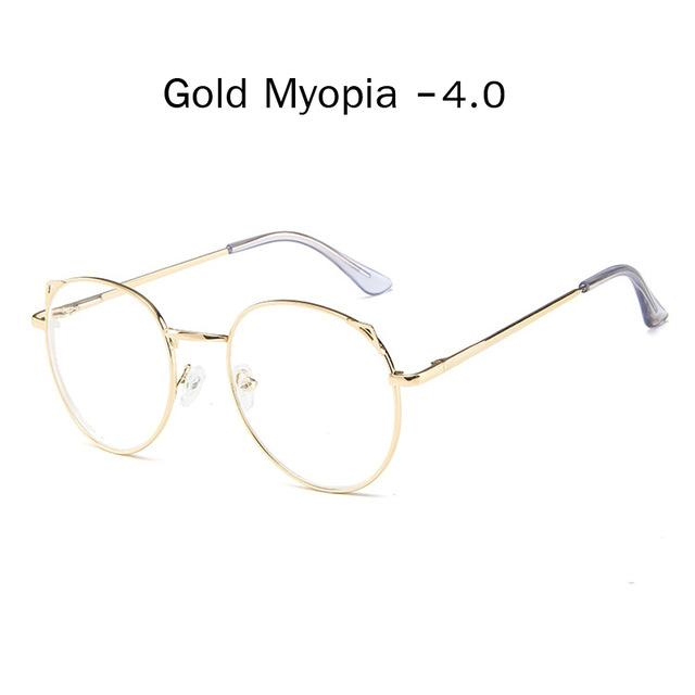 The Metallic Super Cute Doll Tokyo Kawaii Cat Ears Myopia Stylish Frame Glasses Men's Eyewear Frames Zilead Glasses Global Store gold myopia 4.0
