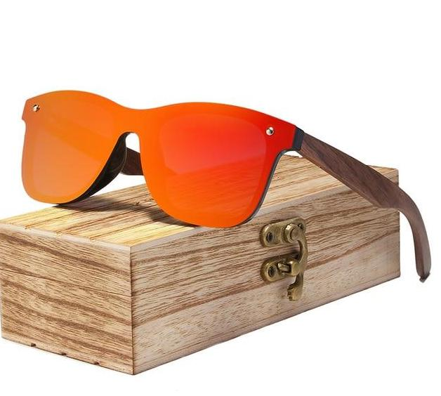 The Eco-Friendly Bamboo Walnut Wood Handmade Unisex Polarized Mirror Lens Sunglasses Online Men's Sunglasses KINGSEVEN Franchised Store Red Walnut Wood