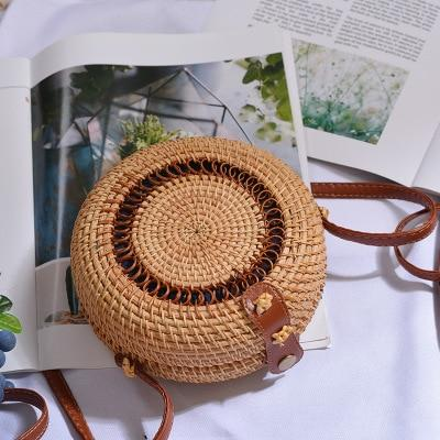 The Bali Island Handmade Woven Rattan Straw Bohemian Shoulder Crossbody Bag Collection Shoulder Bags AOILDLLI Official Store Tiramisu w. Detail (18cm x 8cm)