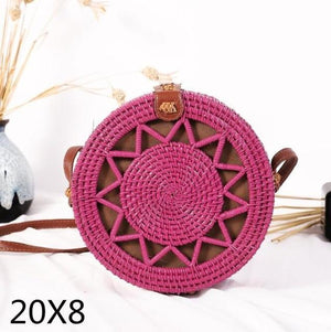 The Bali Island Handmade Woven Rattan Straw Bohemian Shoulder Crossbody Bag Collection Shoulder Bags AOILDLLI Official Store Pink Star Emblem (20cm x 8cm)