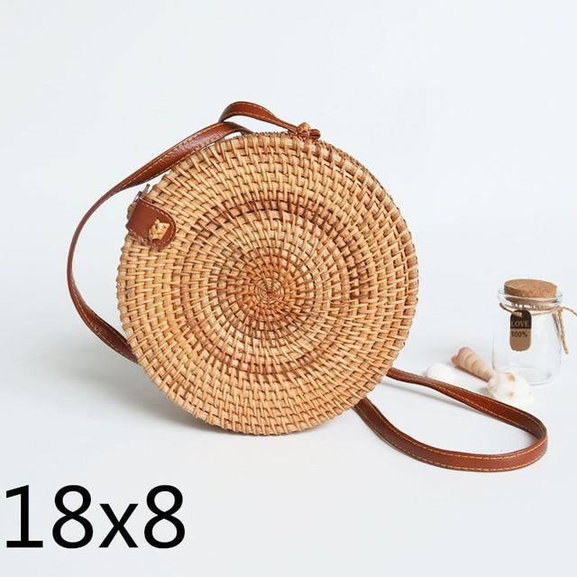 The Bali Island Handmade Woven Rattan Straw Bohemian Shoulder Crossbody Bag Collection Shoulder Bags AOILDLLI Official Store Natural & Minimal 4 (18cm x 8cm)
