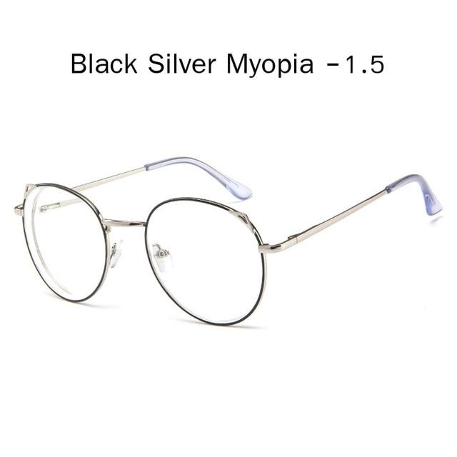 The Metallic Super Cute Doll Tokyo Kawaii Cat Ears Myopia Stylish Frame Glasses Men's Eyewear Frames Zilead Glasses Global Store black silver 1.5