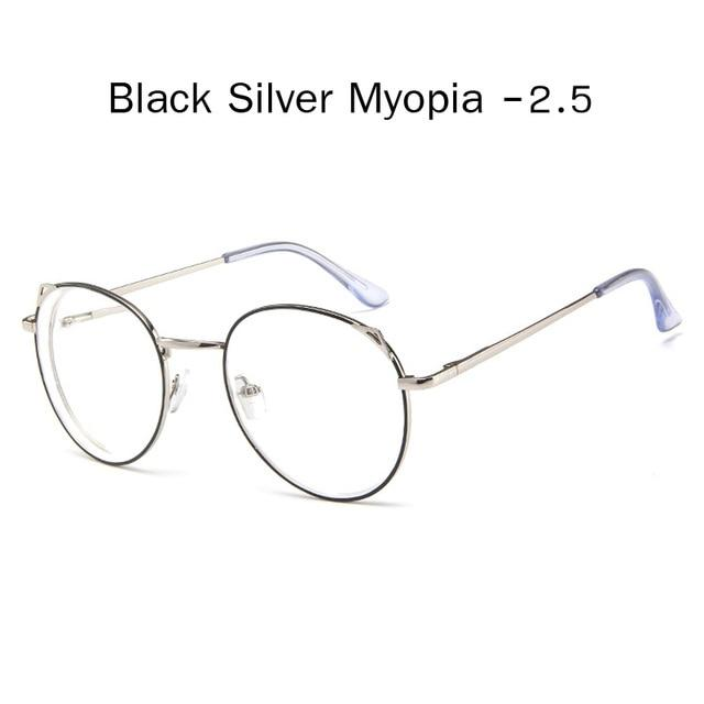 The Metallic Super Cute Doll Tokyo Kawaii Cat Ears Myopia Stylish Frame Glasses Men's Eyewear Frames Zilead Glasses Global Store black silver 2.5