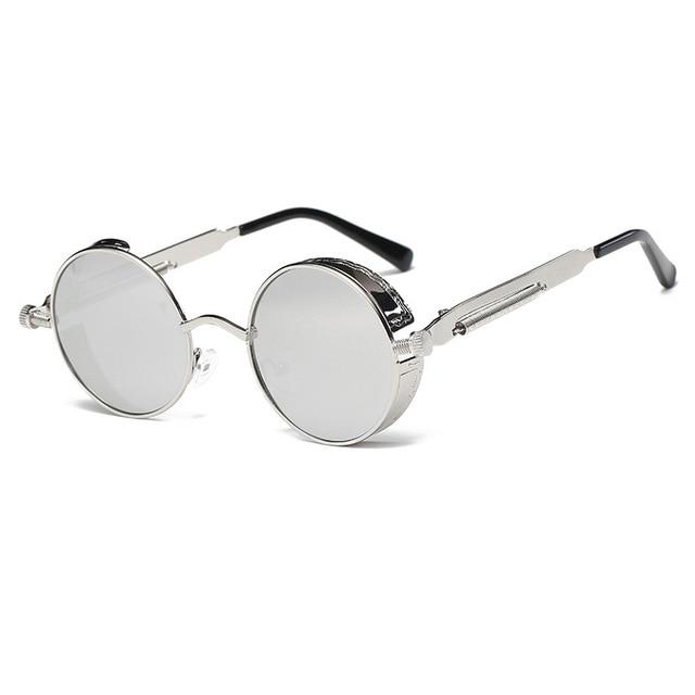 The Vintage Silent Black and White Movies Round Steampunk Metal Sunglasses Men's Sunglasses MOLNIYA Official Store 10