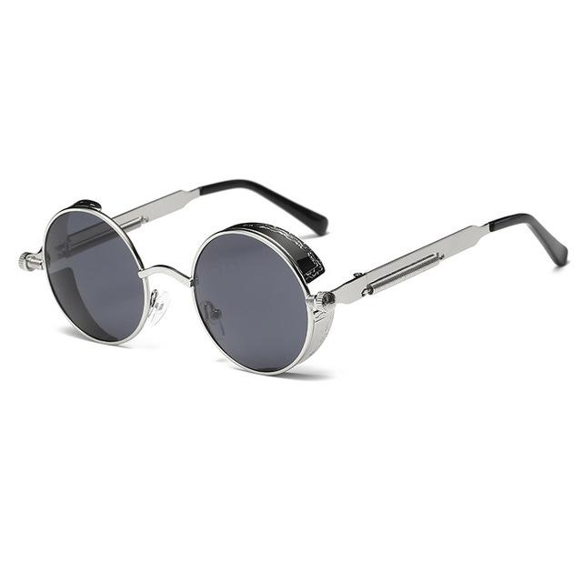 The Vintage Silent Black and White Movies Round Steampunk Metal Sunglasses Men's Sunglasses MOLNIYA Official Store 13