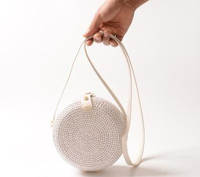 The Bali Island Handmade Woven Rattan Straw Bohemian Shoulder Crossbody Bag Collection Shoulder Bags AOILDLLI Official Store White & Minimal 2 (18cm x 8cm)