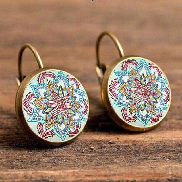 The Boho Higher-Self Activating Sacred Geometry Flower Fractal Repeating Pattern Earrings Collection Drop Earrings Crazy Feng Official Store Flower Child