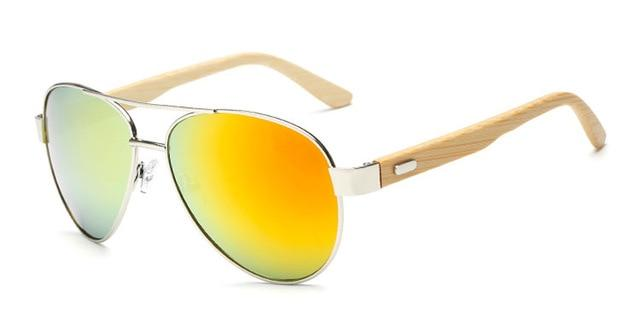 The Wooden Nature Lover Eco-Friendly Bamboo Pilot Sunglasses Women's Sunglasses YinXin Glasses Store C2