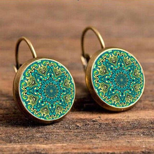 The Boho Higher-Self Activating Sacred Geometry Flower Fractal Repeating Pattern Earrings Collection Drop Earrings Crazy Feng Official Store Holographic Plant
