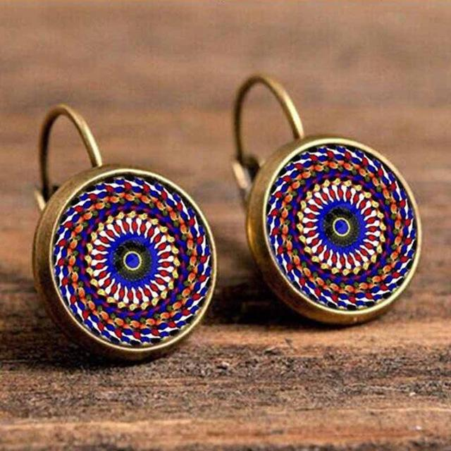 The Boho Higher-Self Activating Sacred Geometry Flower Fractal Repeating Pattern Earrings Collection Drop Earrings Crazy Feng Official Store Circus