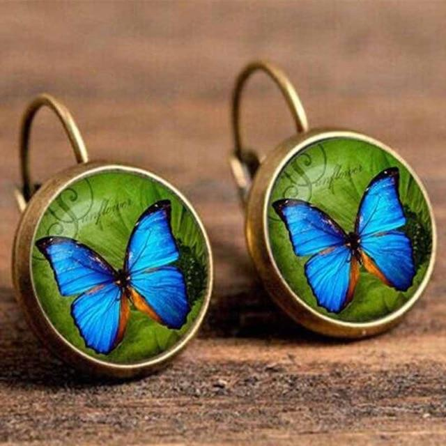 The Boho Higher-Self Activating Sacred Geometry Flower Fractal Repeating Pattern Earrings Collection Drop Earrings Crazy Feng Official Store Blue Moon Butterfly