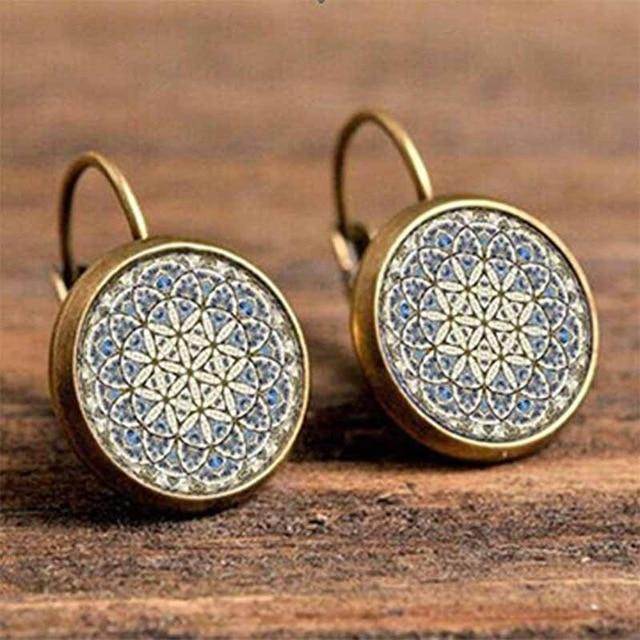 The Boho Higher-Self Activating Sacred Geometry Flower Fractal Repeating Pattern Earrings Collection Drop Earrings Crazy Feng Official Store Sacred Geometry Monochrome