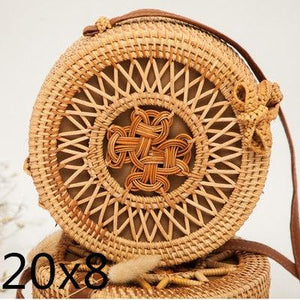 The Bali Island Handmade Woven Rattan Straw Bohemian Shoulder Crossbody Bag Collection Shoulder Bags AOILDLLI Official Store Natural Triple Star Emblem (20cm x 8cm)