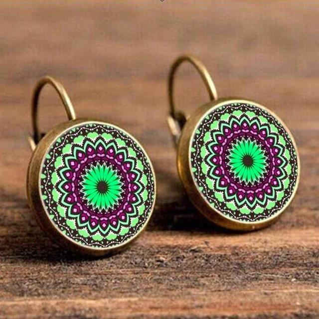 The Boho Higher-Self Activating Sacred Geometry Flower Fractal Repeating Pattern Earrings Collection Drop Earrings Crazy Feng Official Store Green Purple Wheels