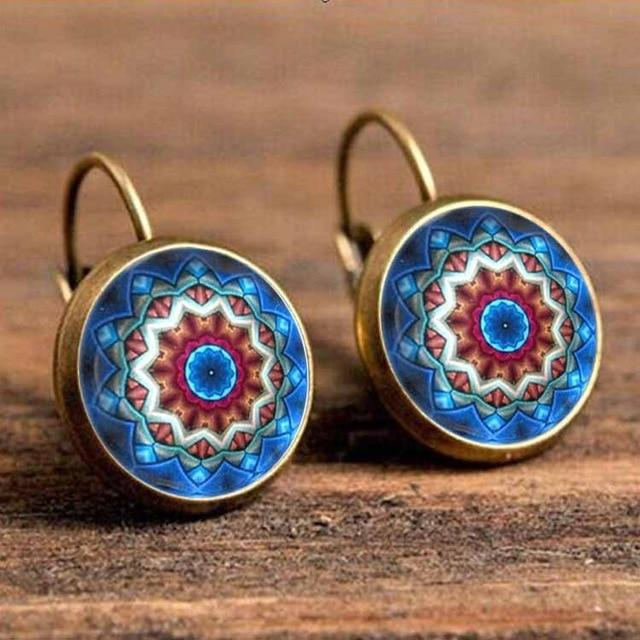 The Boho Higher-Self Activating Sacred Geometry Flower Fractal Repeating Pattern Earrings Collection Drop Earrings Crazy Feng Official Store Blue Astrology Wheels