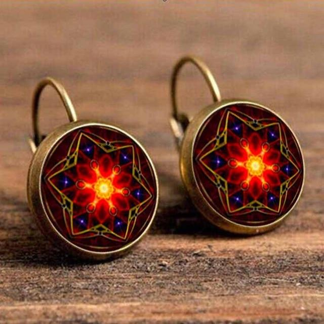 The Boho Higher-Self Activating Sacred Geometry Flower Fractal Repeating Pattern Earrings Collection Drop Earrings Crazy Feng Official Store Red Root Activating Chakra