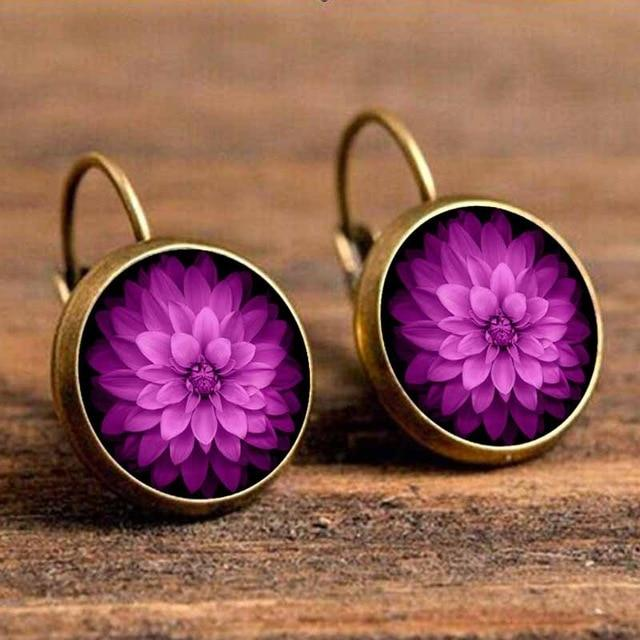 The Boho Higher-Self Activating Sacred Geometry Flower Fractal Repeating Pattern Earrings Collection Drop Earrings Crazy Feng Official Store Violet Purple Flower Chi Crown Activating Chakra