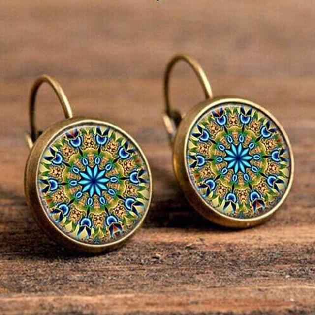 The Boho Higher-Self Activating Sacred Geometry Flower Fractal Repeating Pattern Earrings Collection Drop Earrings Crazy Feng Official Store Medieval Blue Geometric Flower