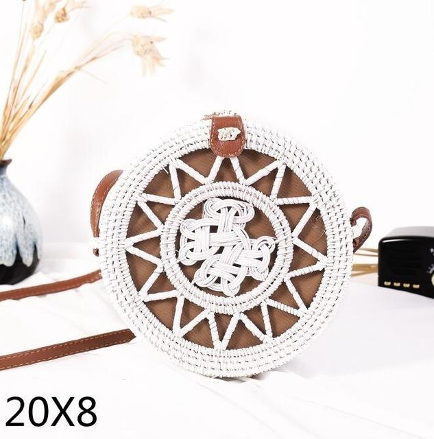 The Bali Island Handmade Woven Rattan Straw Bohemian Shoulder Crossbody Bag Collection Shoulder Bags AOILDLLI Official Store White & Natural Star Emblem (20cm x 8cm)