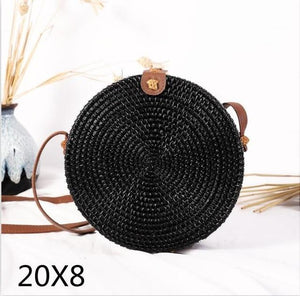 The Bali Island Handmade Woven Rattan Straw Bohemian Shoulder Crossbody Bag Collection Shoulder Bags AOILDLLI Official Store Black & Minimal (20cm x 8cm)