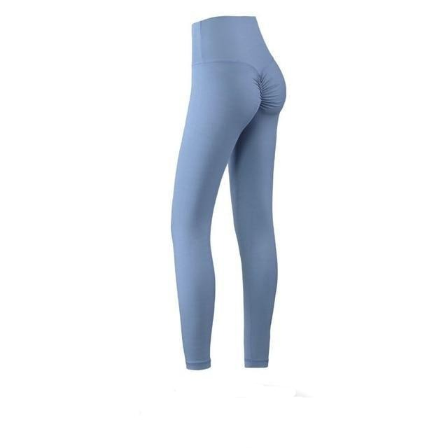 The Naked Feeling Scrunch Butt Deep V Booty High-Waisted Gym Yoga Workout Leggings Yoga Pants hearuisavy Official Store Steel Dusky Blue Gray S