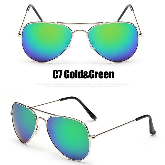 The Outdoor Lover Luxe Pilot Mirror Unisex Eyewear Women's Sunglasses LeonLion Store C7 Gold Green
