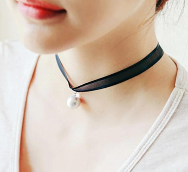 The Minimalist Old France Sexy Collier Lace Flower Elastic Vintage Choker Necklaces Collection Choker Necklaces QBH Jewelry Co.,Ltd min order $1 The White Pearl