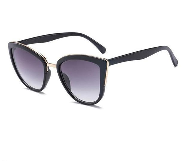 The Egyptian Gold Accented Cat Eye Retro Vintage Sunglasses Women's Sunglasses DCM Private Store Black Gray