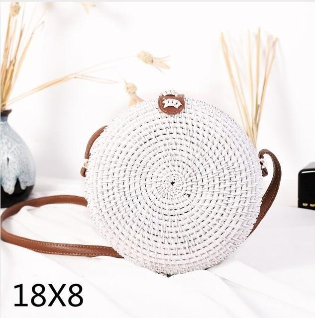 The Bali Island Handmade Woven Rattan Straw Bohemian Shoulder Crossbody Bag Collection Shoulder Bags AOILDLLI Official Store White w. Detail (18cm x 8cm)