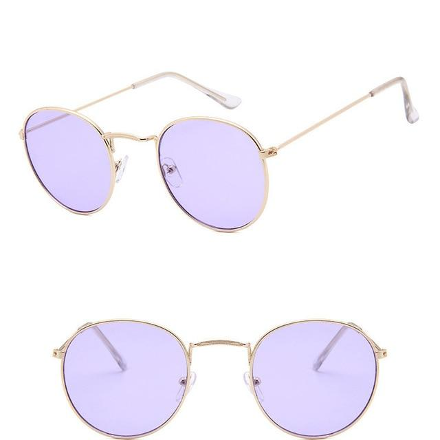 Classic Round Sun Street Beat Unix Mirror Sunglasses Women's Sunglasses RBROVO Official Store Gold Ocean Purple