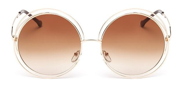 The Classic Retro Over Oversized Glasses Round Circle Stainless Steel Frame Mirror Sunglasses Women's Sunglasses SHENZHEN BO SHI TONG gold tea
