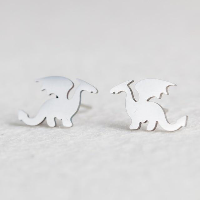 Silver Stainless Steel Super Cute Minimalist Geometric Stud Earrings Collection Stud Earrings Shine Lives Store Dragon