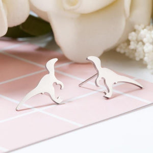 Silver Stainless Steel Super Cute Minimalist Geometric Stud Earrings Collection Stud Earrings Shine Lives Store Dinosaur