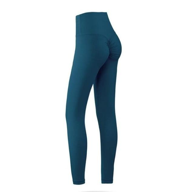 The Naked Feeling Scrunch Butt Deep V Booty High-Waisted Gym Yoga Workout Leggings Yoga Pants hearuisavy Official Store Royal Blue Green Sea S