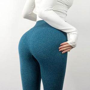 The Staple High Waist Seamless Pants Sports Yoga Leggings Yoga Pants hearuisavy Official Store Blue XS