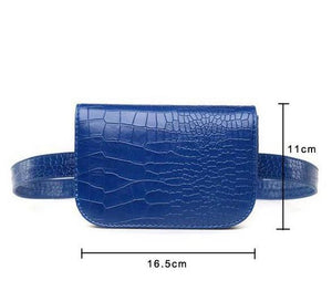 Vintage Alligator Waist Bag Waist Packs DBFashion Store Blue (Small)