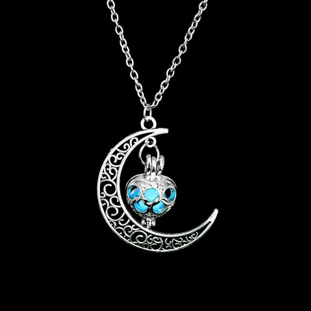 The Enchanted Sun Light Charging and Glowing Gem Stone Moon Charm Necklace Pendant Necklaces FAMSHIN Official Store Blue Classic