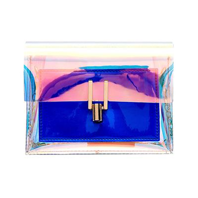 The Shiny Laser Transparent Crossbody Shoulder Messenger Bag Shoulder Bags Noocuxuekon Store Blue