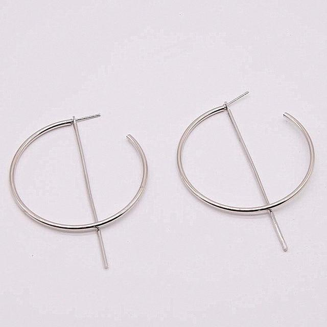 Loopy for Hoops Big Round Hollow Geometric Earrings Collection Drop Earrings ZSC JEWLRY & ACCESSORIES The Silver Deconstructed Hoops