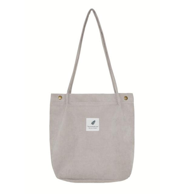 Dream Corduroy Large Shoulder Crossbody Foldable Tote Bag Shoulder Bags Mara's Dream Golden Store Gray