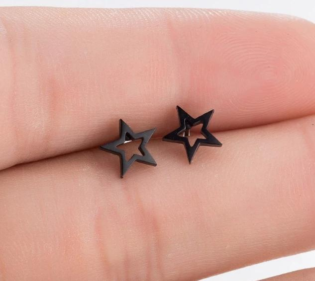 The Assorted Colors Allergen-Free Non-Toxic Stainless Steel Super Cute Minimalist Geometric Stud Earrings Collection Stud Earrings SMJEL Official Store Black Hollow Star Gold