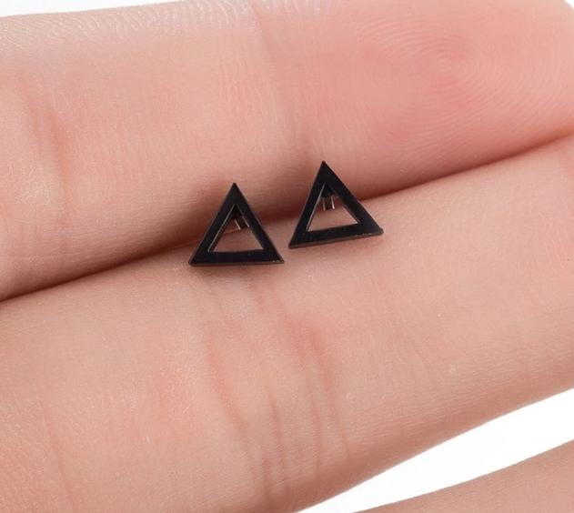 The Assorted Colors Allergen-Free Non-Toxic Stainless Steel Super Cute Minimalist Geometric Stud Earrings Collection Stud Earrings SMJEL Official Store Black Hollow Triangle Gold