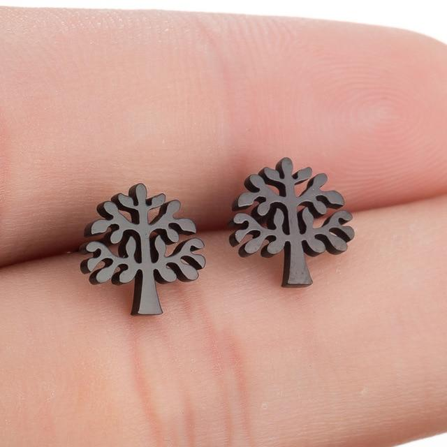 The Assorted Colors Allergen-Free Non-Toxic Stainless Steel Super Cute Minimalist Geometric Stud Earrings Collection Stud Earrings SMJEL Official Store Black Tree of Life Gold
