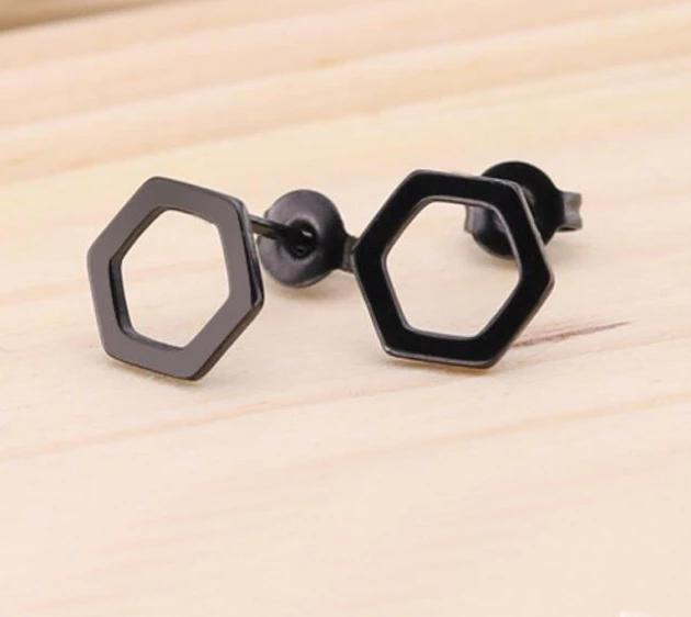 The Assorted Colors Allergen-Free Non-Toxic Stainless Steel Super Cute Minimalist Geometric Stud Earrings Collection Stud Earrings SMJEL Official Store Black Hollow Hexagon Gold