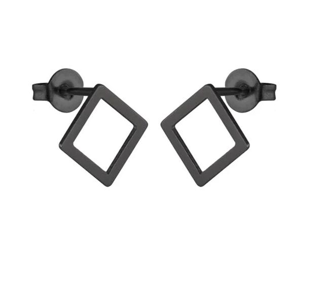 The Assorted Colors Allergen-Free Non-Toxic Stainless Steel Super Cute Minimalist Geometric Stud Earrings Collection Stud Earrings SMJEL Official Store Black Hollow Diamond Gold