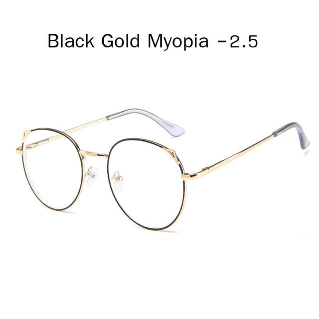 The Metallic Super Cute Doll Tokyo Kawaii Cat Ears Myopia Stylish Frame Glasses Men's Eyewear Frames Zilead Glasses Global Store black gold 2.5