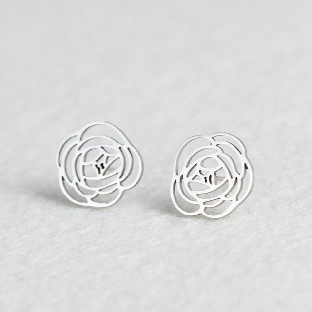 Silver Stainless Steel Super Cute Minimalist Geometric Stud Earrings Collection Stud Earrings Shine Lives Store Flower