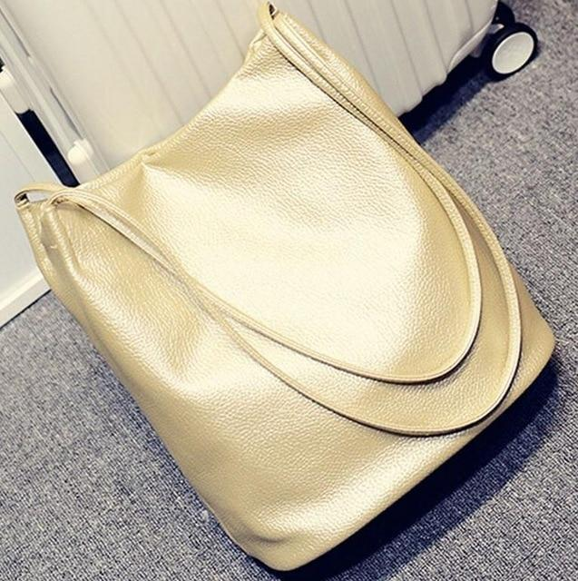 The Bucket Shopping Large Shoulder Crossbody Tote Leather Bag Shoulder Bags Yogodlns Official Store Gold