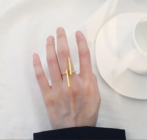 The Unisex Minimalist Architectural Sculpture Art Simple Linear Open Bar Mood Tracker Geometry Free Size Ring Rings TimLee Official Store Gold